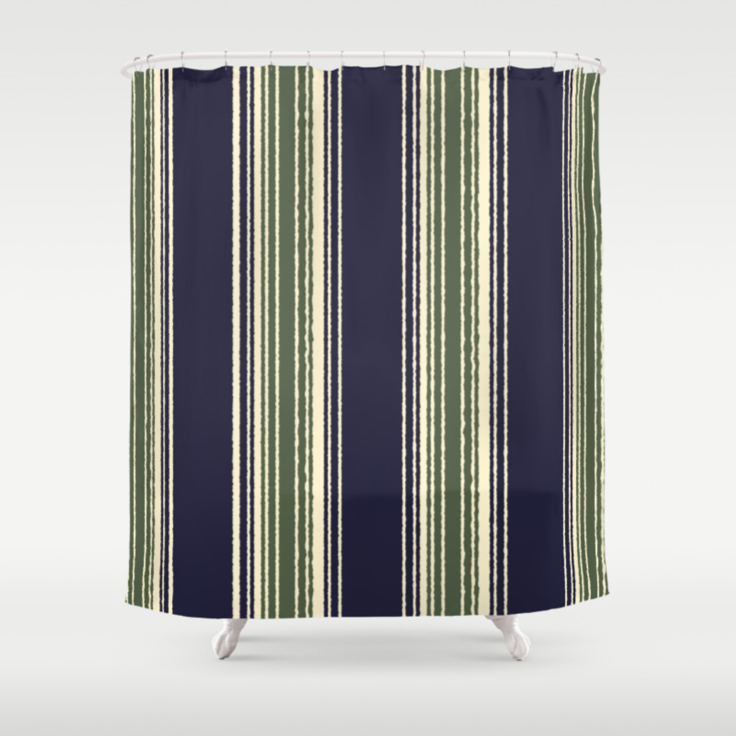Navy Blue And Sage Green Stripes Shower Curtain