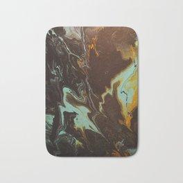 Fluid Art Acrylic Painting, Pour 3 - Black, Orange & Turquoise Blended Color Bath Mat