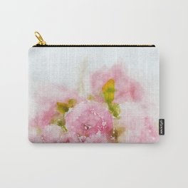 Rose treasure - Pink floral flowers on white background on #Society6 Carry-All Pouch