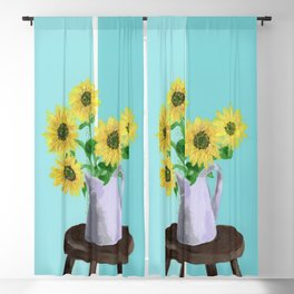 Sunflowers on Blues Blackout Curtain