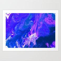 Royal | Blue, Purple, Indigo, and White Fluid Acrylic Abstract Painting Art Print