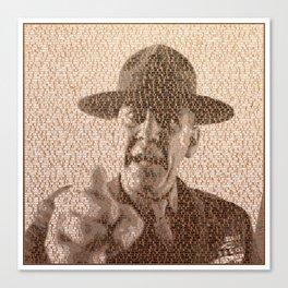 Text Portrait of Sergeant Hartman with Full Script Of Full Metal Jacket Canvas Print