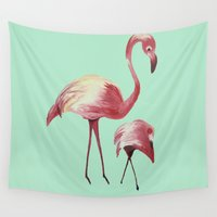 flamingos Wall Tapestries featuring FLAMINGOS by ArtSchool