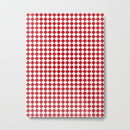 Small Diamonds - White and Fire Engine Red Metal Print