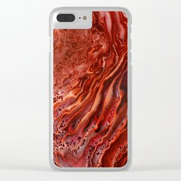 Acrylic Pour - Wilting Rose Clear iPhone Case