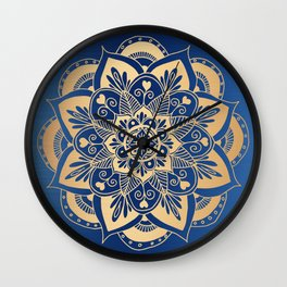 Blue and Gold Flower Mandala Wall Clock