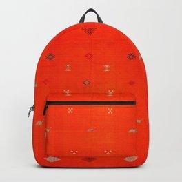7 - Vintage Orange Anthropologie Moroccan Artwork. Backpack