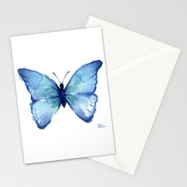 Blue Butterfly Watercolor Stationery Cards