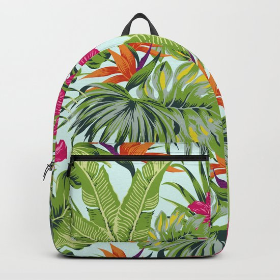 Bird of Paradise Greenery Aloha Hawaiiana Rainforest Tropical Leaves Floral Pattern Backpack