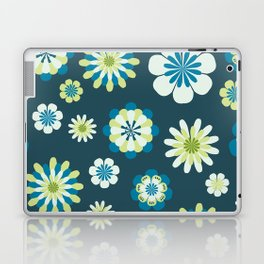 Floral Pattern in shades of blue, apple green, yellow and white Laptop & iPad Skin