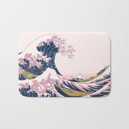 The Great Pink Wave off Kanagawa Bath Mat