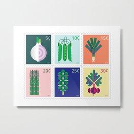 Vegetable Stamps Metal Print