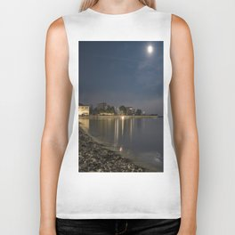 Foggy Moonlit Beach Biker Tank