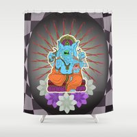 ganesha Shower Curtains featuring Ganesha by motorbot
