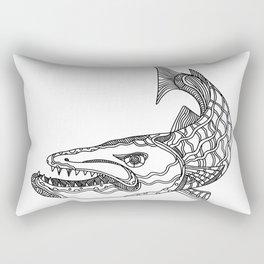 Barracuda Fish Doodle Art Rectangular Pillow