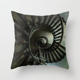 Brown wooden spiral staircase Throw Pillow