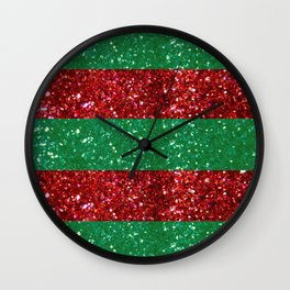 Christmas Holiday Stripes in Red and Green Wall Clock