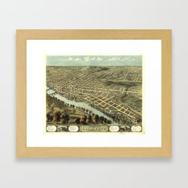 Bird's Eye View of Lafayette, Indiana (1868) Framed Art Print