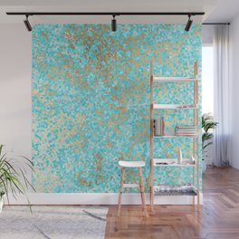 Abstract teal white faux gold modern pattern Wall Mural