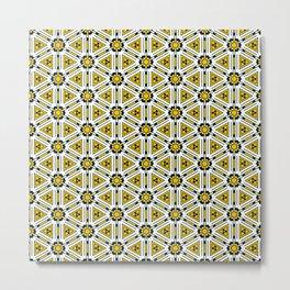 Tech Shapes Yellow Metal Print