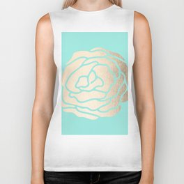 Rose in White Gold Sands on Tropical Sea Blue Biker Tank
