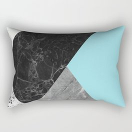 Black and White Marbles and Pantone Island Paradise Color Rectangular Pillow