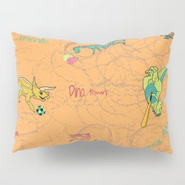 Dino Town- Orange Peel Pillow Sham