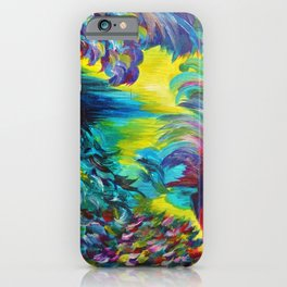 FLIGHT ON TAP - Whimsical Colorful Feathers Fountain Peacock Abstract Acrylic Painting Purple Teal iPhone Case