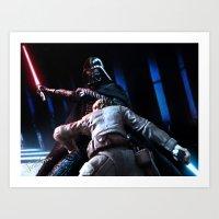 Art Print featuring Skywalker vs Vader - Close Quarters by jcalum2012