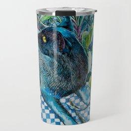 Who Me? Naughty Black Cat amongst Indoor Plants Travel Mug