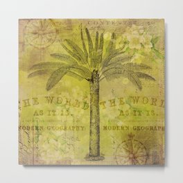 Vintage Journey palmtree typography travel collage Metal Print