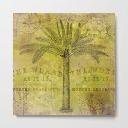 Vintage Journey palmtree typography travel collage Metal Print