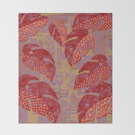 Hawaiian Lava Leaves Tapa Print Throw Blanket