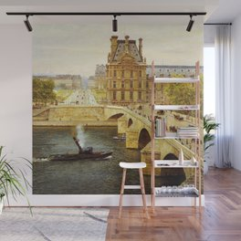 The Pont Royale and The Louvre, View of the Seine by Firmin-Girard Wall Mural