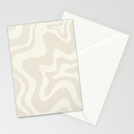 Liquid Swirl Contemporary Abstract Pattern in Barely-There Pale Beige and Light Cream  Stationery Cards