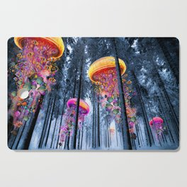 Winter Forest of Electric Jellyfish Worlds Cutting Board