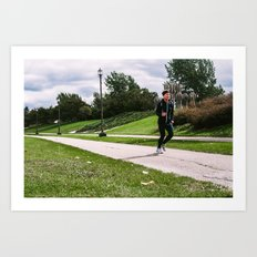 Jogger on an overcast day in the park Art Print