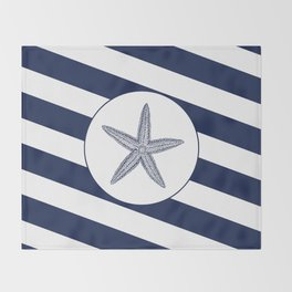 Nautical Starfish Navy Blue & White Stripes Beach Throw Blanket