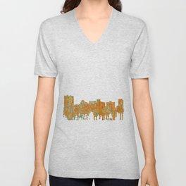 Arlington, Texas Skyline - Rust Unisex V-Neck