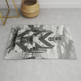 Chicago and North Western Diesel Electric ALCO Locomotive Train Engine 1689 Black and White Photography Rug