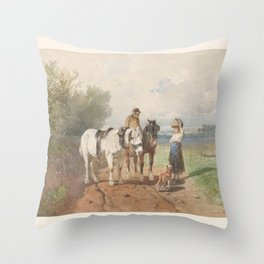 Chat on a country road, Anton Mauve, 1848 - 1888 Throw Pillow