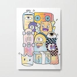 Pastel 'Watercolor Madness' Skateboard Wall Art Metal Print