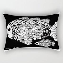 Fishies Zentangle Black and White Pen & Ink Rectangular Pillow