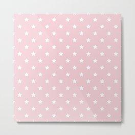 Pastel Pink Star Pattern Metal Print