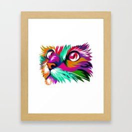 Cute Cat Graphic Colorful Paint Women Tshirt for Cat Lovers Framed Art Print