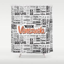 Venezuela Lettering Design - Black and white Shower Curtain