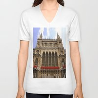 vienna V-neck T-shirts featuring Building in Vienna by Kim Ramage
