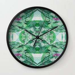 Unicorn Fractal Floral Watercolor in Green Wall Clock