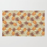 pineapples Area & Throw Rugs featuring pineapples by Julia