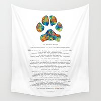 poem Wall Tapestries featuring Rainbow Bridge Poem With Colorful Paw Print by Sharon Cummings by Sharon Cummings